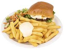 Broodje runderburger speciaal met frites