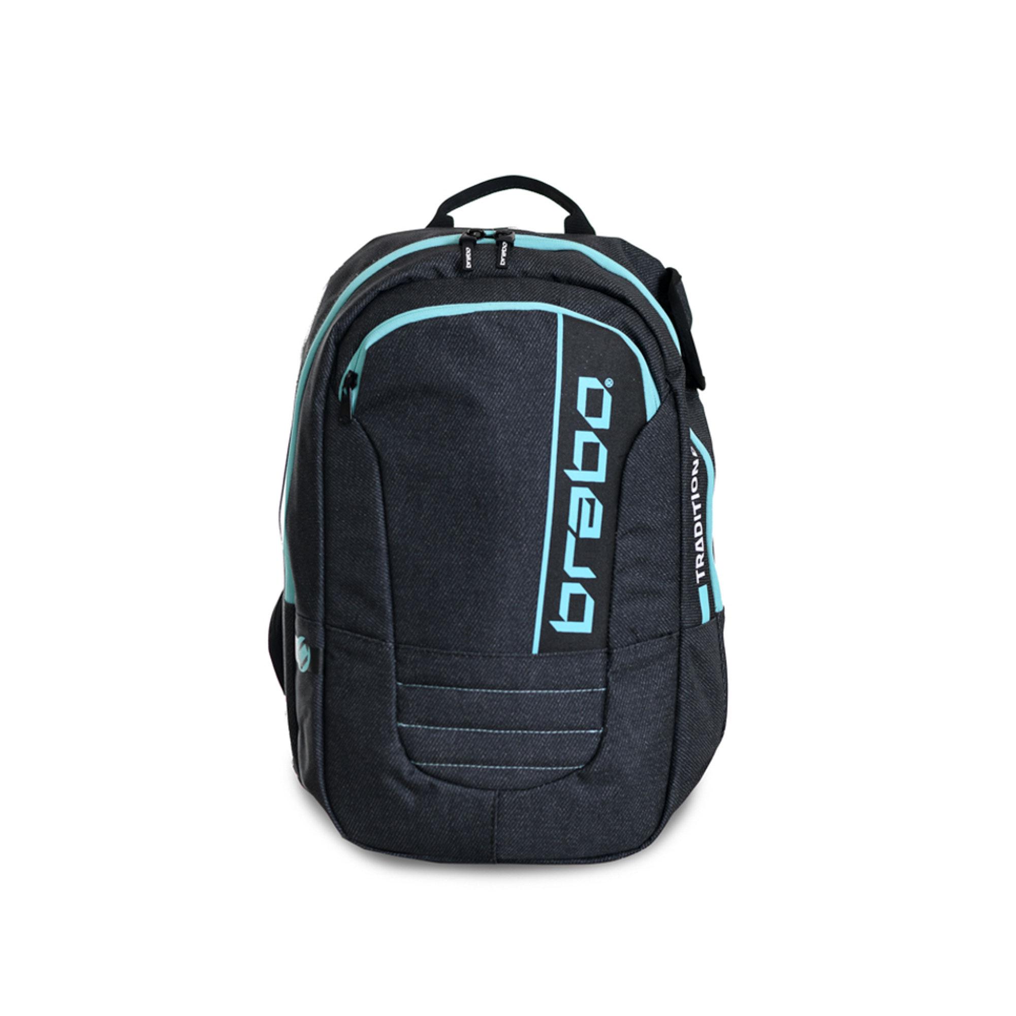 Afbeelding van Brabo Backpack Traditional Denim Hockeytas Junior Black Aqua
