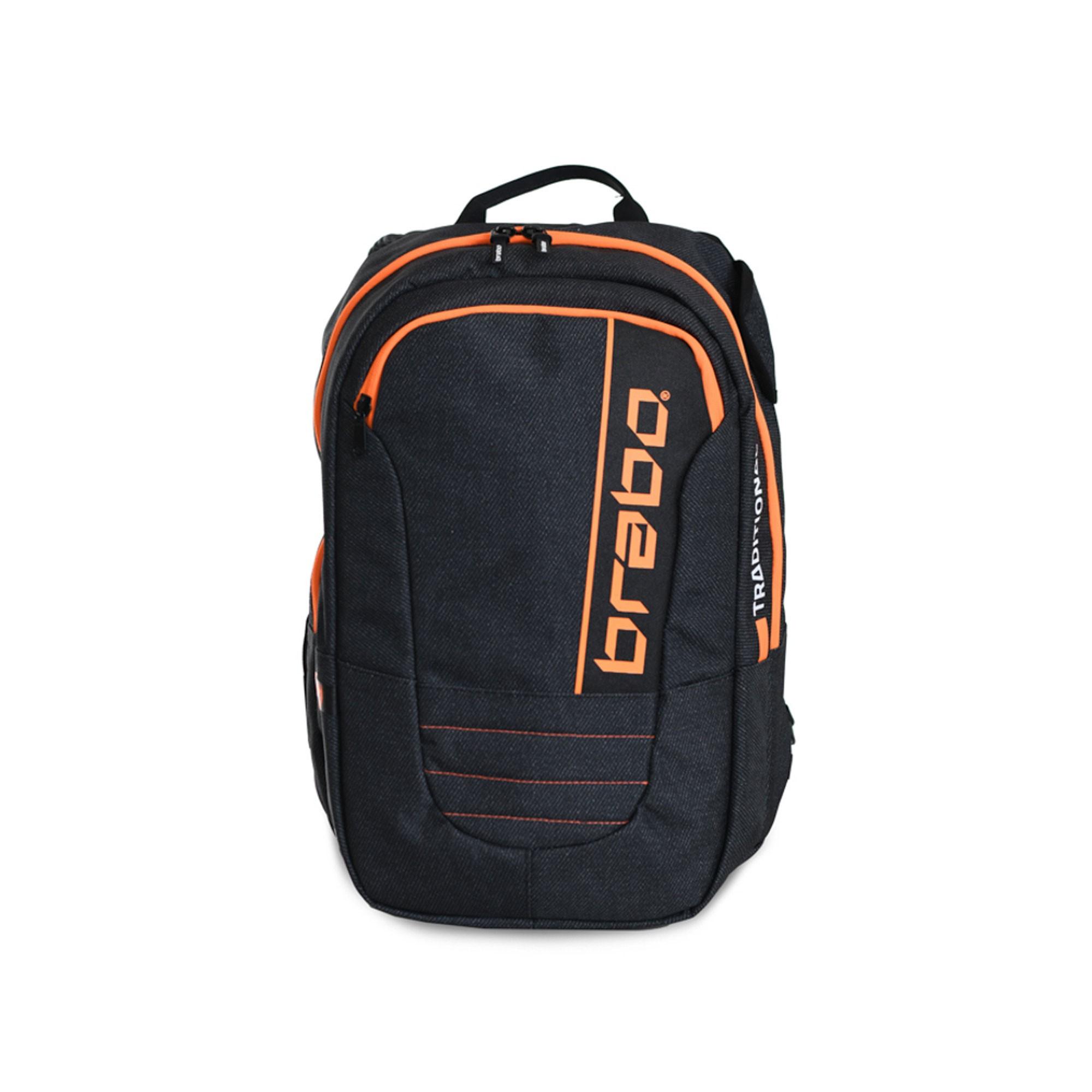 Afbeelding van Brabo Backpack Traditional Denim Hockeytas Black Orange