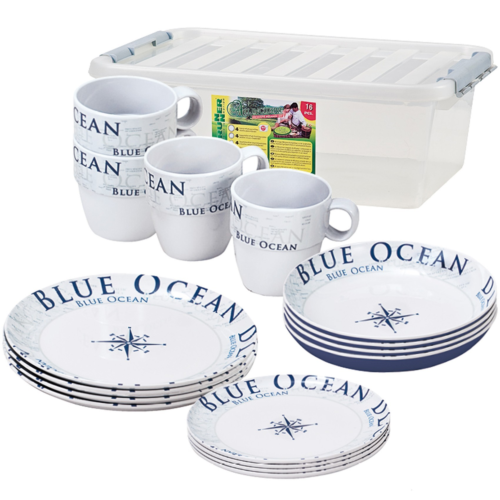 Afbeelding van Brunner Stack Box Blue Ocean 16 delig Campingservies Set