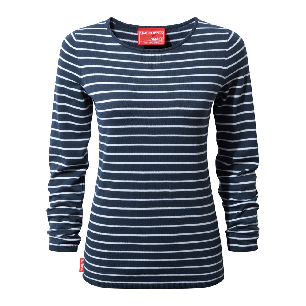 Afbeelding van Craghoppers NosiLife Camille Crew Shirt Dames Night Blue Optic White