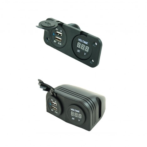 2x USB lader met voltage meter