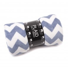 In the Mood fleece plaid zigzag faded blue wit