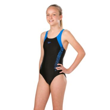 412223f5fdb06d Speedo Boom Splice Muscleback badpak junior black blue De Wit Schijndel