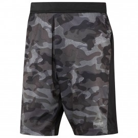 reebok speedwick geweven short camo print fitnessbroek kort heren black