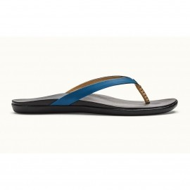 olukai ho'opio leather slippers dames legion blue black