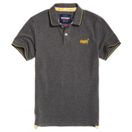 Superdry Classic Poolside Pique polo heren black grey marl