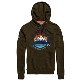Superdry Mountain Trail Hood trui heren black olive grit