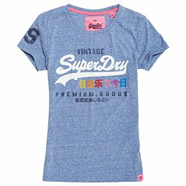 Superdry Premium Goods Rhinestone Pop Entry Tee shirt dames Cali Blue Snowy