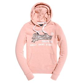 Superdry Shirt Shop Sequin Entry Hood trui dames dusty rose snowy