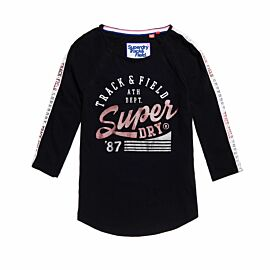 Superdry Track & Field Baseball Top shirt dames black track