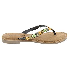 Lazamani Beads slippers dames dark brown