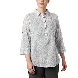 Columbia Summer Ease Popover blouse dames cirrus grey wispy bamboo print