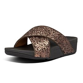 FitFlop Lulu Glitter Slides slippers dames chocolate metallic