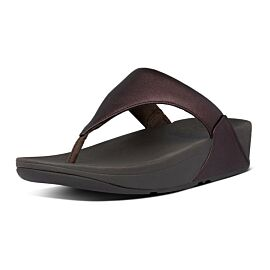 FitFlop Lulu Leather Toe-Post slippers dames chocolate metallic