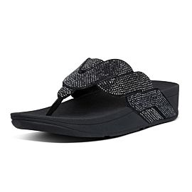 FitFlop Paisley Rope Toe-Thongs slippers dames all black