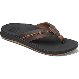Reef Leather Ortho-Bounce Coast slippers heren black brown