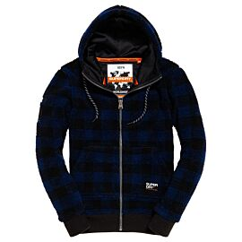 Superdry Core Sherpa Hoodie vest heren blue check