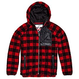 Superdry Core Sherpa Hoodie vest heren red check