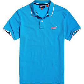 Superdry Poolside Pique polo heren electric blue grit