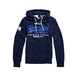 Superdry Vintage Logo hoodie heren midnight blue grit