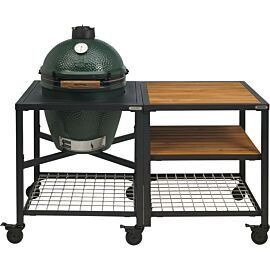 Big Green Egg Medium houtskoolbarbecue met frame en uitbreidingsframe wood wood grid