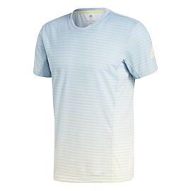 Adidas Melbourne Striped tennisshirt heren ash blue white zijaanzicht