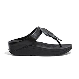 FitFlop Fino Feather Toe-Post slippers dames all black voorkant