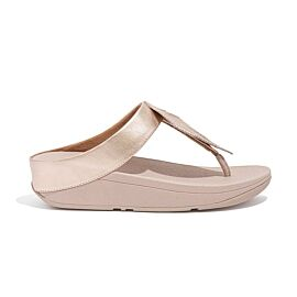 FitFlop Fino Feather Toe-Post slippers dames rose gold voorkant