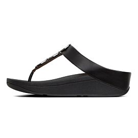 FitFlop Fino Hexy Toe-Post slippers dames black