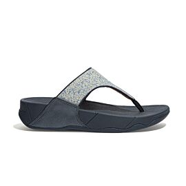 FitFlop Lulu Shimmer Toe-Post slippers dames midnight navy voorkant