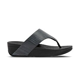 FitFlop Olive Textured Glitz Toe-Post slippers dames all black voorkant