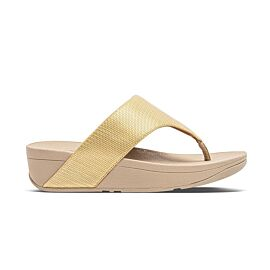 FitFlop Olive Textured Glitz Toe-Post slippers dames platino voorkant