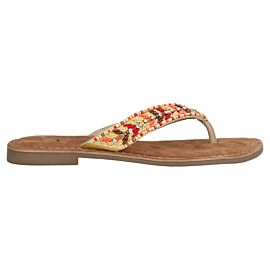 Lazamani Embroidery slippers dames beige