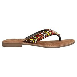 Lazamani Embroidery slippers dames brown