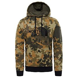 The North Face Drew Peak New Hoody trui heren taupe green macro flock print