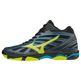 Mizuno Wave Hurricane 3 MID V1GA174547 indoorschoenen heren ombre blue safety yellow black