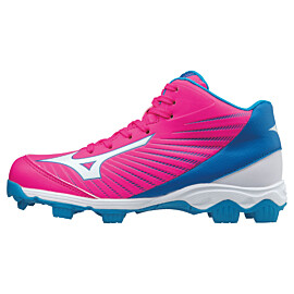 mizuno 9 spike advanced franchise 9 mid 11gp175764 korfbalschoenen junior roze blauw