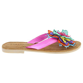 lazamani multi flower slippers dames fuxia