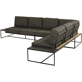 4 seasons outdoor patio large loungebank anthracite teak