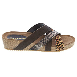 lazamani straps wedge slippers dames brown