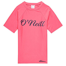 o'neill logo short sleeve skins uv shirt junior pink lemonade