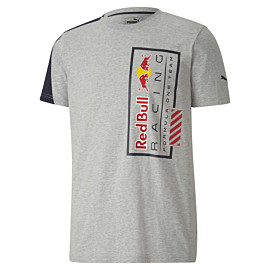puma red bull racing logo shirt heren light gray heather