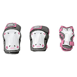 roces ventilated 3-pack beschermers junior white pink