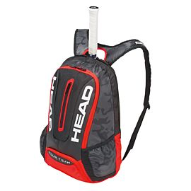 Head Tour Team Backpack tennistas black red schuin