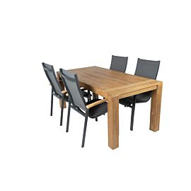 Bardani Roma 180 Lucca stapelbaar tuinset teak matt royal grey