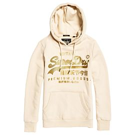 Superdry Vintage Logo Premium Luxe Entry Hoodie trui dames soft white