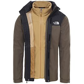 The North Face Evolve II Triclimate outdoor jack heren taupe green binnenkant