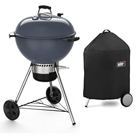 Weber Master-Touch GBS C-5750 57 houtskoolbarbecue slate blue + gratis Premium barbecuehoes