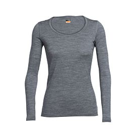 Icebreaker Oasis Long Sleeve Scoop shirt dames gritstone heather